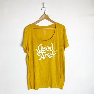 "Torrid yellow ""good times"" graphic tee"